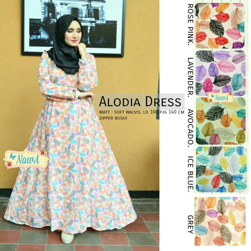 SUPPLIER BAJU HIJAB ALODIA DRESS NW