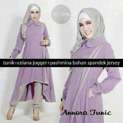 HIjab  Amora purple 3in1 ( Tunik + Joger + pashmina )