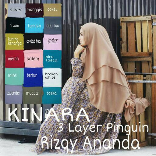 Hijab 3 Layer Penguin Kinara  ori Rizqy Ananda