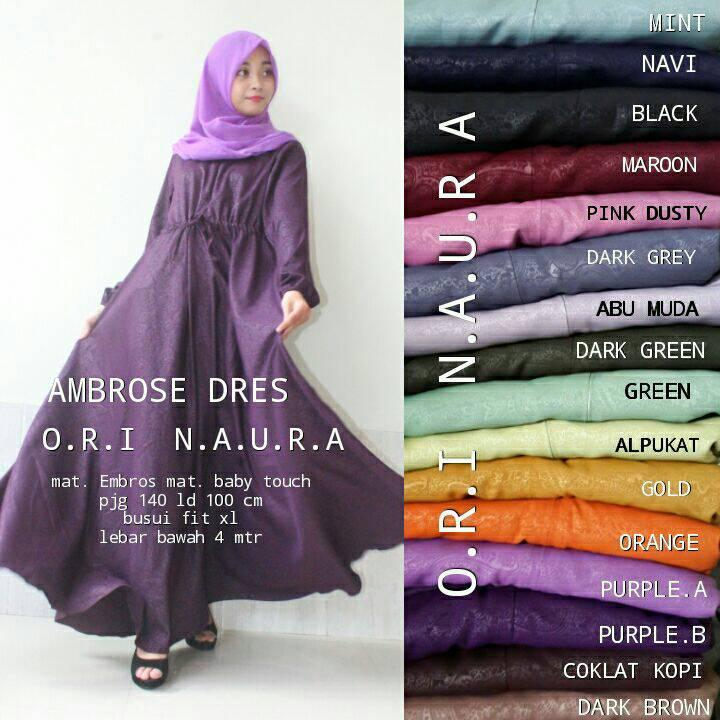 AMBROSE DRESS ORI NAURA / GROSIR BAJU HIJAB
