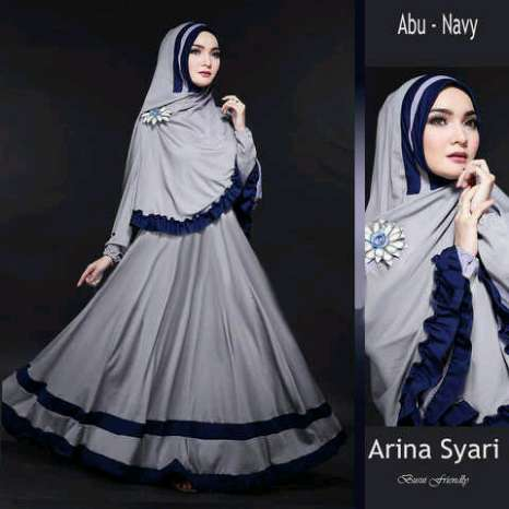 Hijab bergo arina Abu ( maxi + Busui + Bergo )