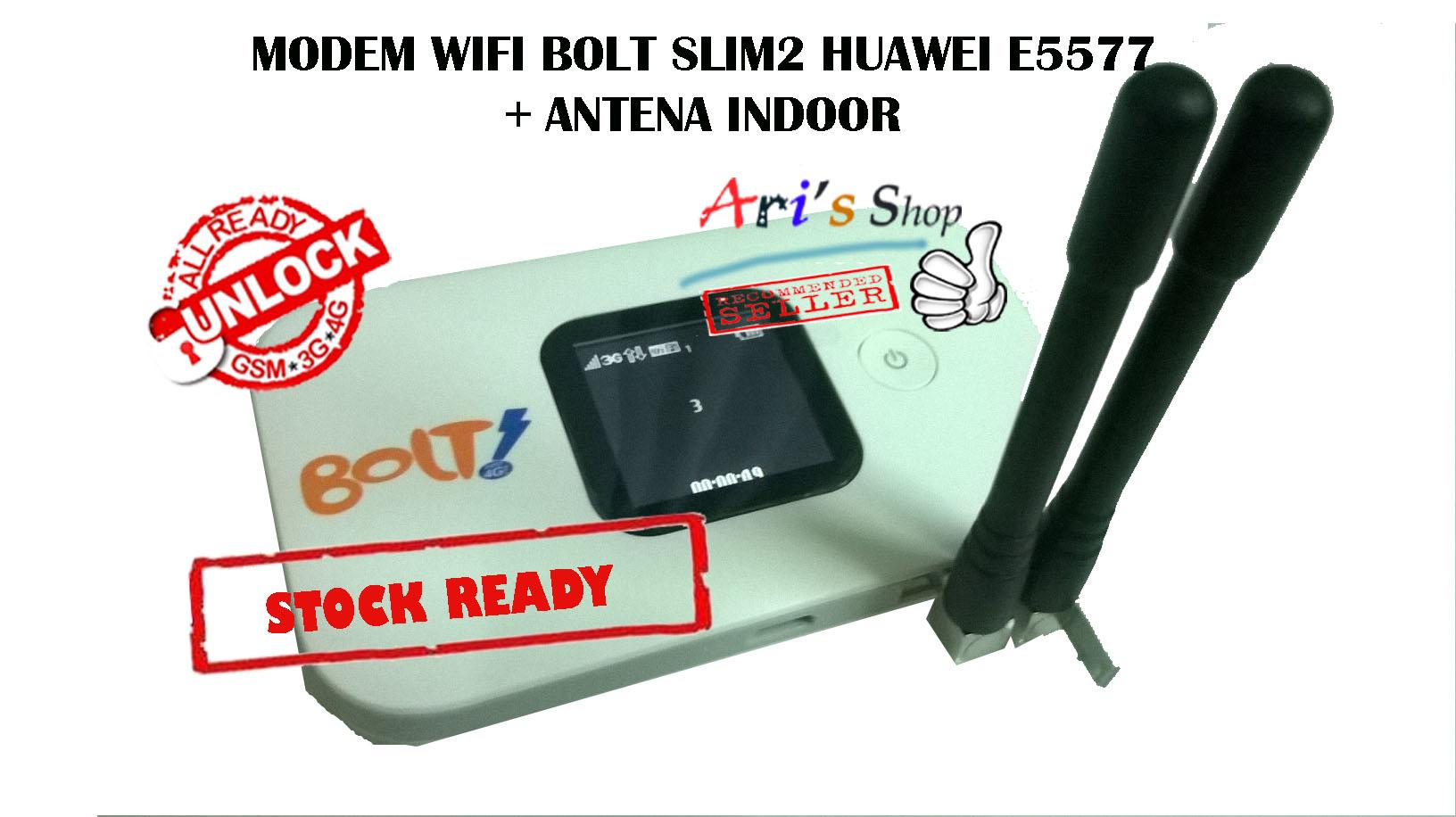 Jual MODEM WIFI 4G LTE BOLT SLIM2 SLIM 2 HUAWEI E5577 UNLOCK ANTENA INDOOR