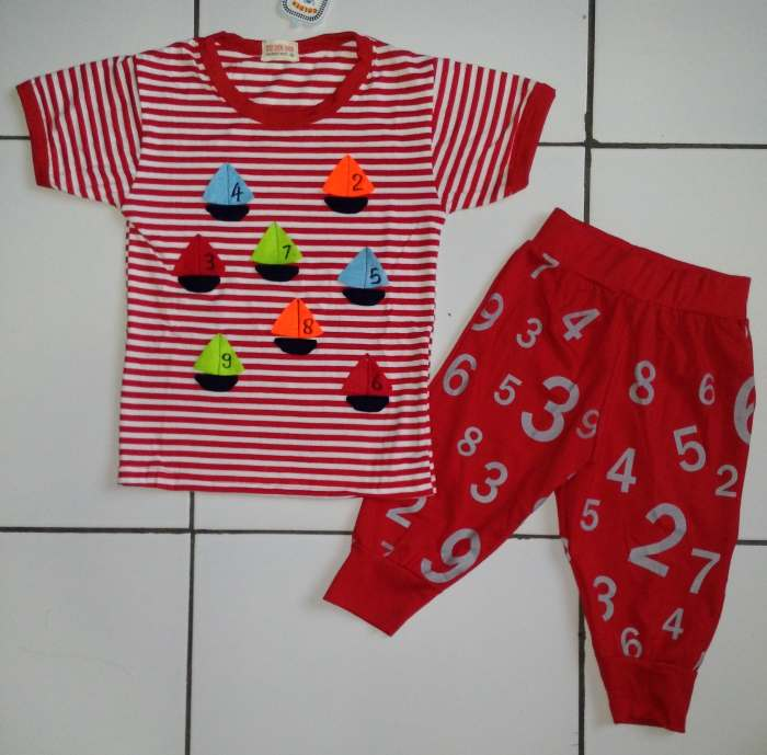 STKDL165 - Setelan Anak Stripe Red Nine Boats Murah