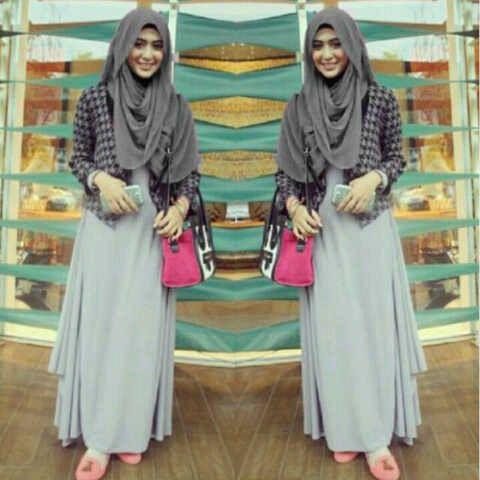 Hijab Gamis Maxi Dress Cardigan Trendy 3 in 1 (Dress+Cradigan+Pasmina)