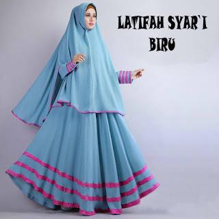 Gamis Syari Murah Latifah Biru (Terbaru Murah Modern Cantik)
