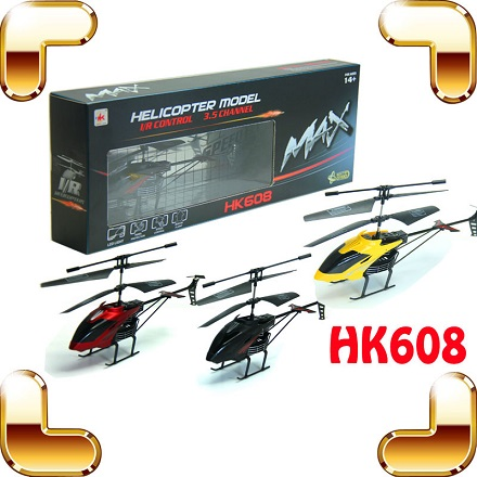 R/C Helicopter HK 608 3,5 Channel Ghyroscope (Merah, Hitam)