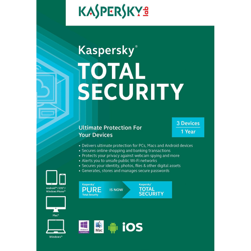 Kaspersky Total Security / Pure 2016 1 Pc 1 Tahun