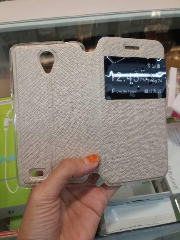 Jual Leather Flip Case Vivo Y21 .