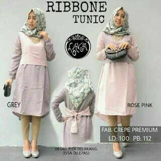 ribbone tunic katun  (blouse/atasan/top/hijab)