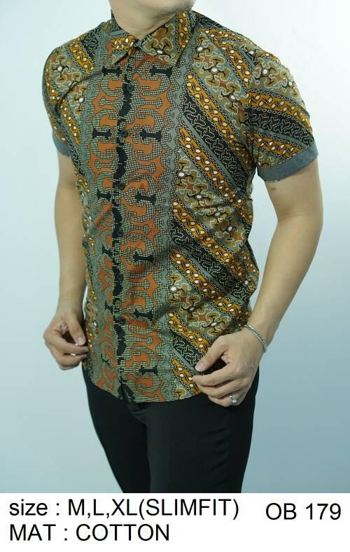 Batik Slim Fit - Kualitas Mall Elite!! Kemeja Slimfit Keren OB179