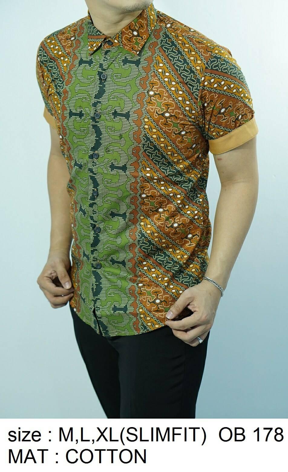Batik Slim Fit - Kualitas Mall Elite!! Kemeja Slimfit Keren OB178