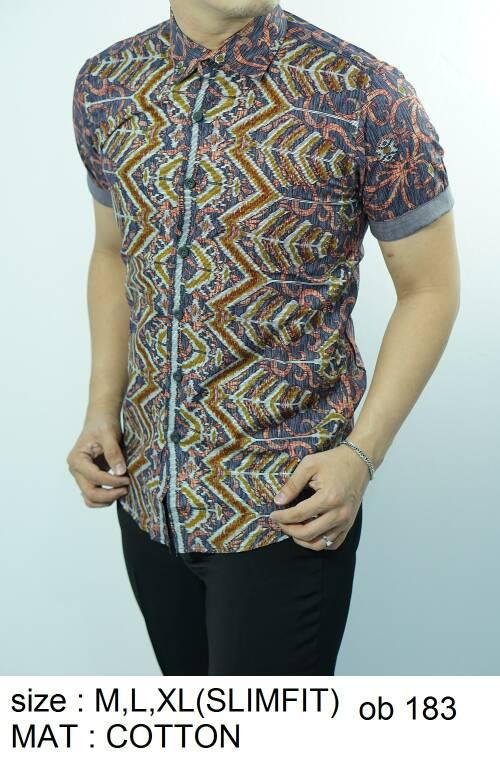 Batik Slim Fit - Kualitas Mall Elite!! Kemeja Slimfit Keren OB183