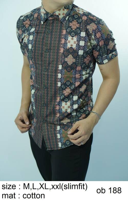Batik Slim Fit - Kualitas Mall Elite!! Kemeja Slimfit Keren OB188