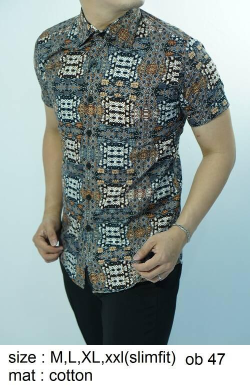 Batik Slim Fit - Kualitas Mall Elite!! Kemeja Slimfit Keren OB47