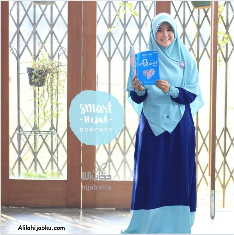 gamis set smart hijab dongker alila