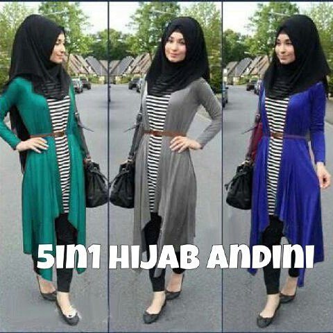 Hijab andini 5in1 (atasan+cardi+celana+pashmina+belt)