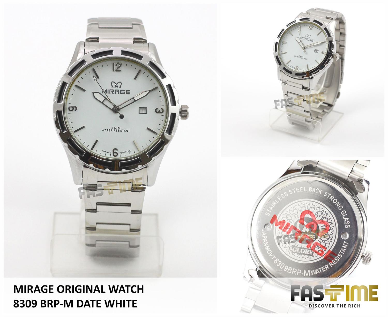 Jual Jam Tangan Pria Japan Technology MIRAGE Original 8309 BRP-M Date White - Fastime