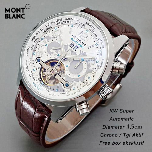 Montblanc Tourbilon Leather Brown ring Silver plat Black