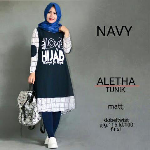 Aletha tunic / kaos tunik baju muslimah lengan panjang / casual hijab