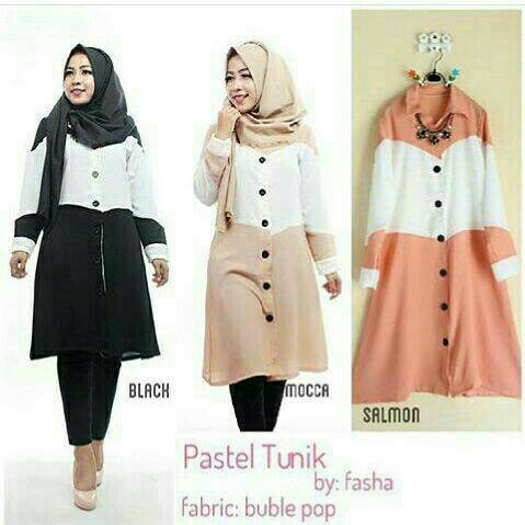 atasan wanita/baju hijab busui/ pastel tunic