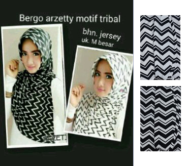 Hijab/Jilbab Bergo Arzetty Double Tribal Seri Hitam Putih