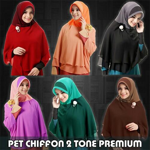 Hijab/Jilbab Khimar Pet Chiffon 2 Tone