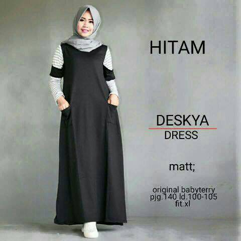 Deskya Dress / dress hitam / gamis hitam / hijab ootd / HOTD