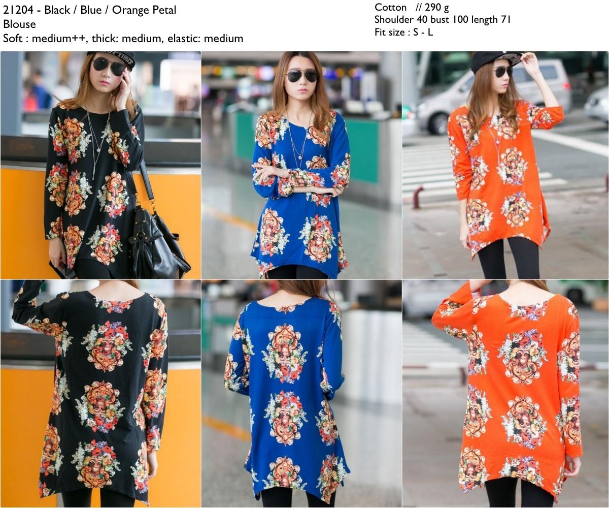 petal blouse (Black,BlueOrange) -21204
