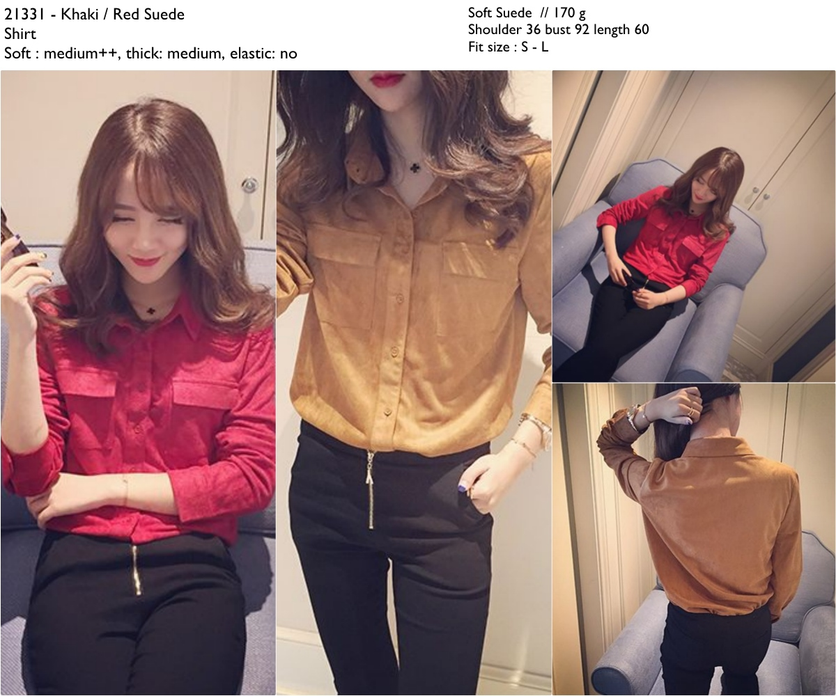 suede shirt (Red,Khaki) -21331