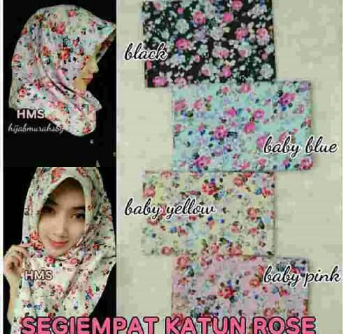 jilbab segi empat katun/ hijab segi 4/ jilbab motif bunga