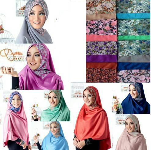 Hijab Jilbab Khimar Satin Risty, hijab grosir, hijab murah, hijab gaul