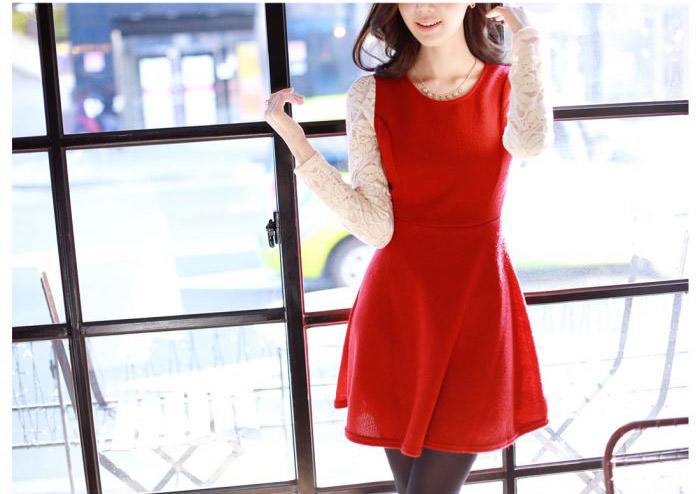 Cotton + Lace Dress Red - 773389
