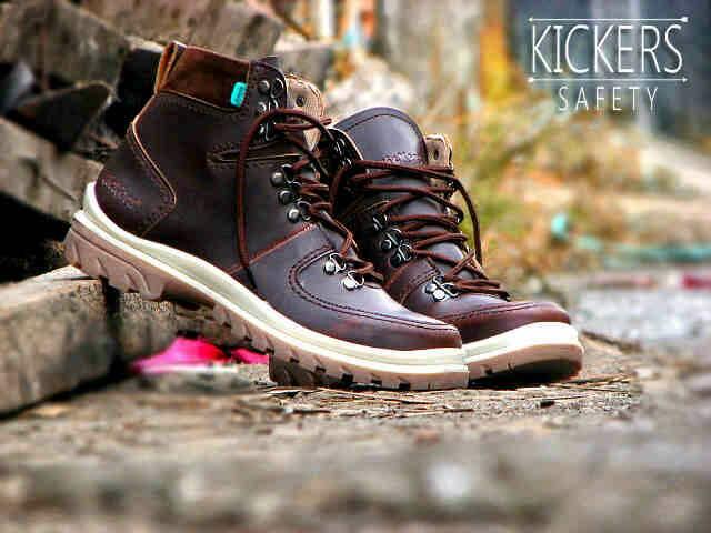 Jual Sepatu Boots Outdor Kickers Safety Kulit Marun Murah