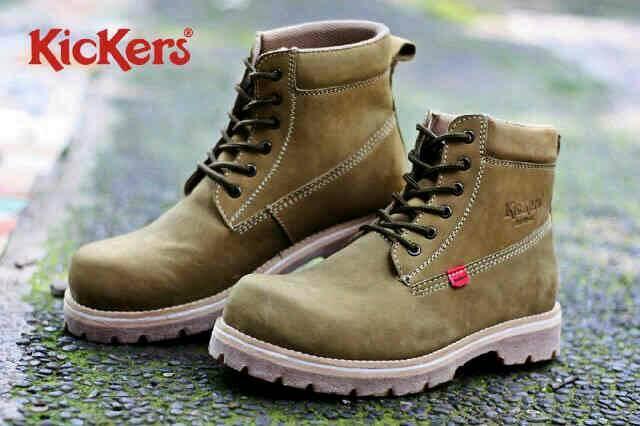 Jual Sepatu Boot Outdoor Kickers Camel Kulit / pria cowok Murah
