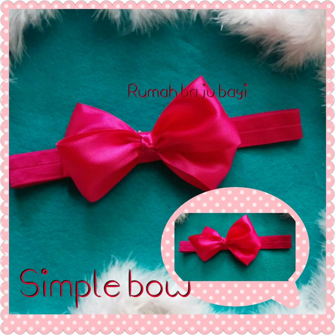 Jual Bandana Bayi Anak Headband Baby Simple Bow Satin Pink Fanta