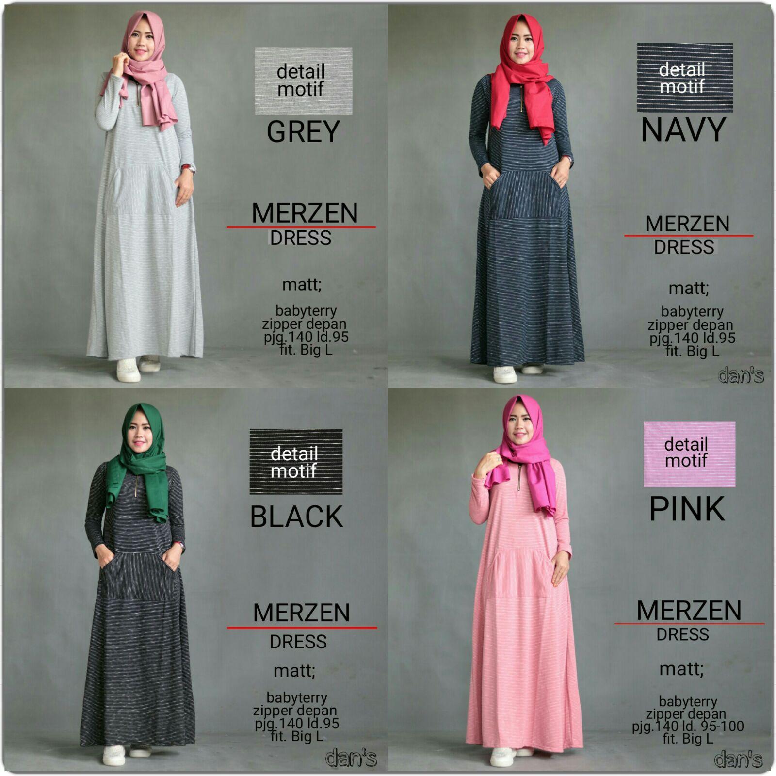 DANS MERZEN (Busana Muslim,Gamis Katun,Hijab,Dress,Syar'i)