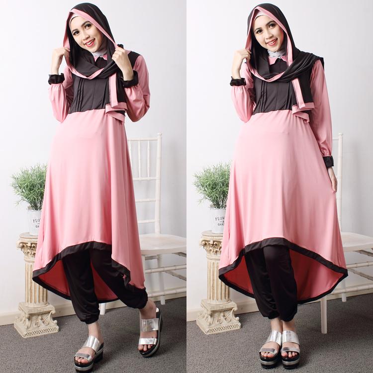 Jual Gamis Wanita Baju Muslim Hijab Intan Set Dusty Baju Gamis