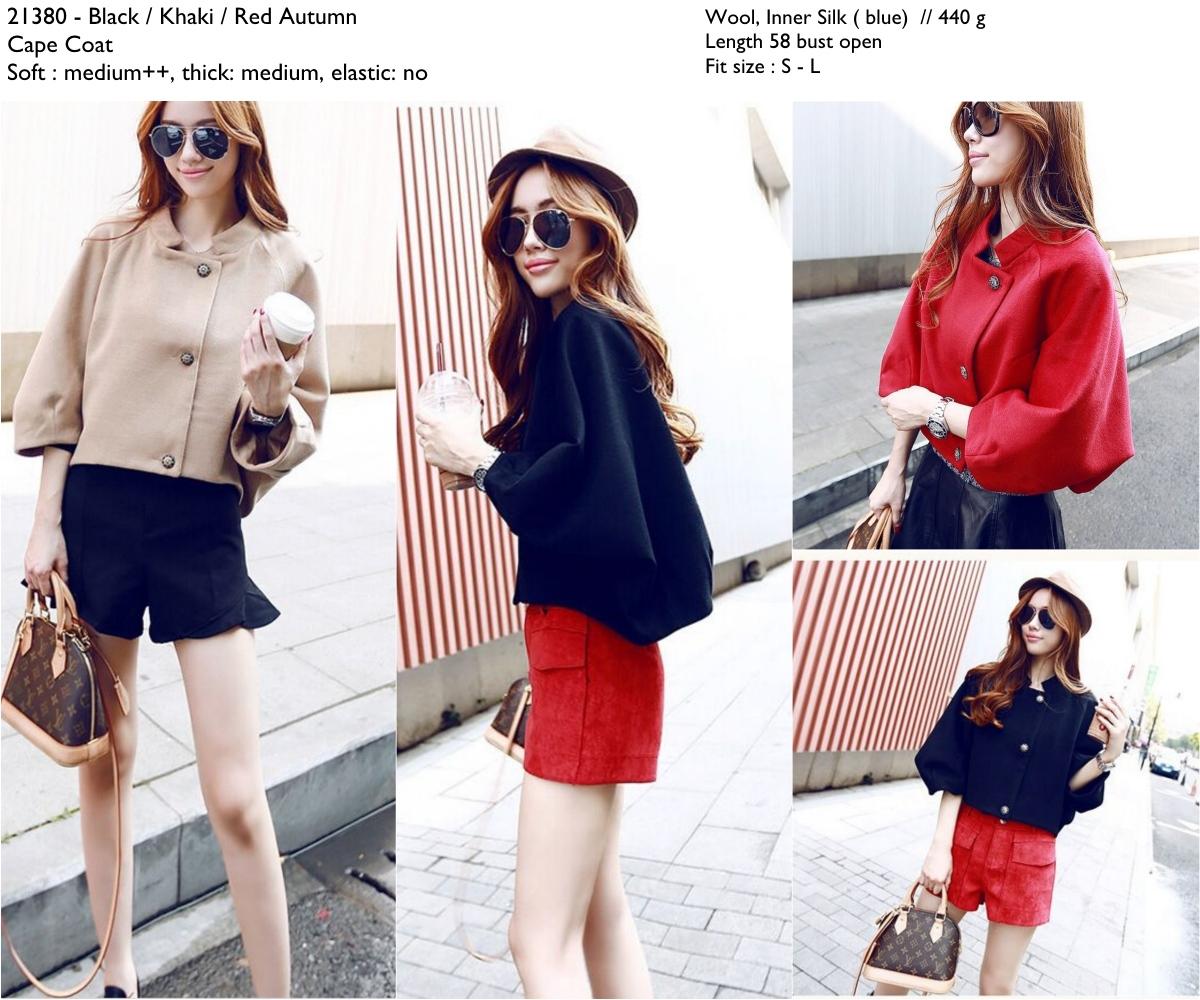 autumn cape coat (black,khaki,red)-21380