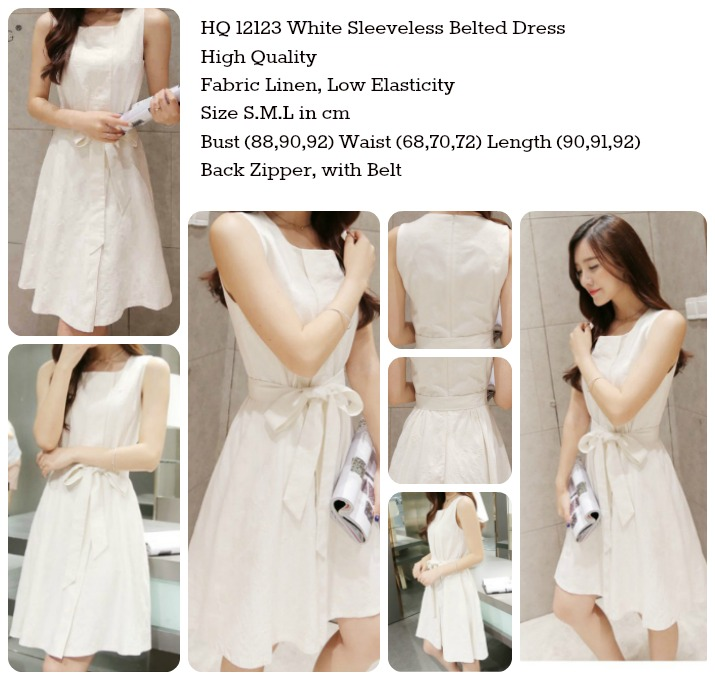 White Sleeveless Belted Dress (size S,M,L)-12123