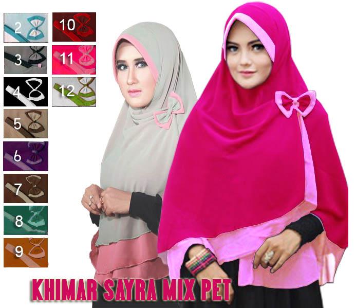 Khimar / hijab / jilbab syari Sayra mix pet