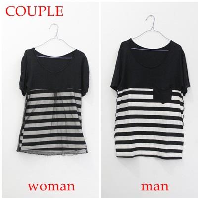 Jual Baju Second Couple Hitam Garis Putih As Seen On