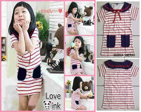 DRKD28 - Dress Anak Sailor Stripe Red Murah