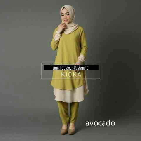 Hijab Kioka avocado (Tunik+celana+pashmina )
