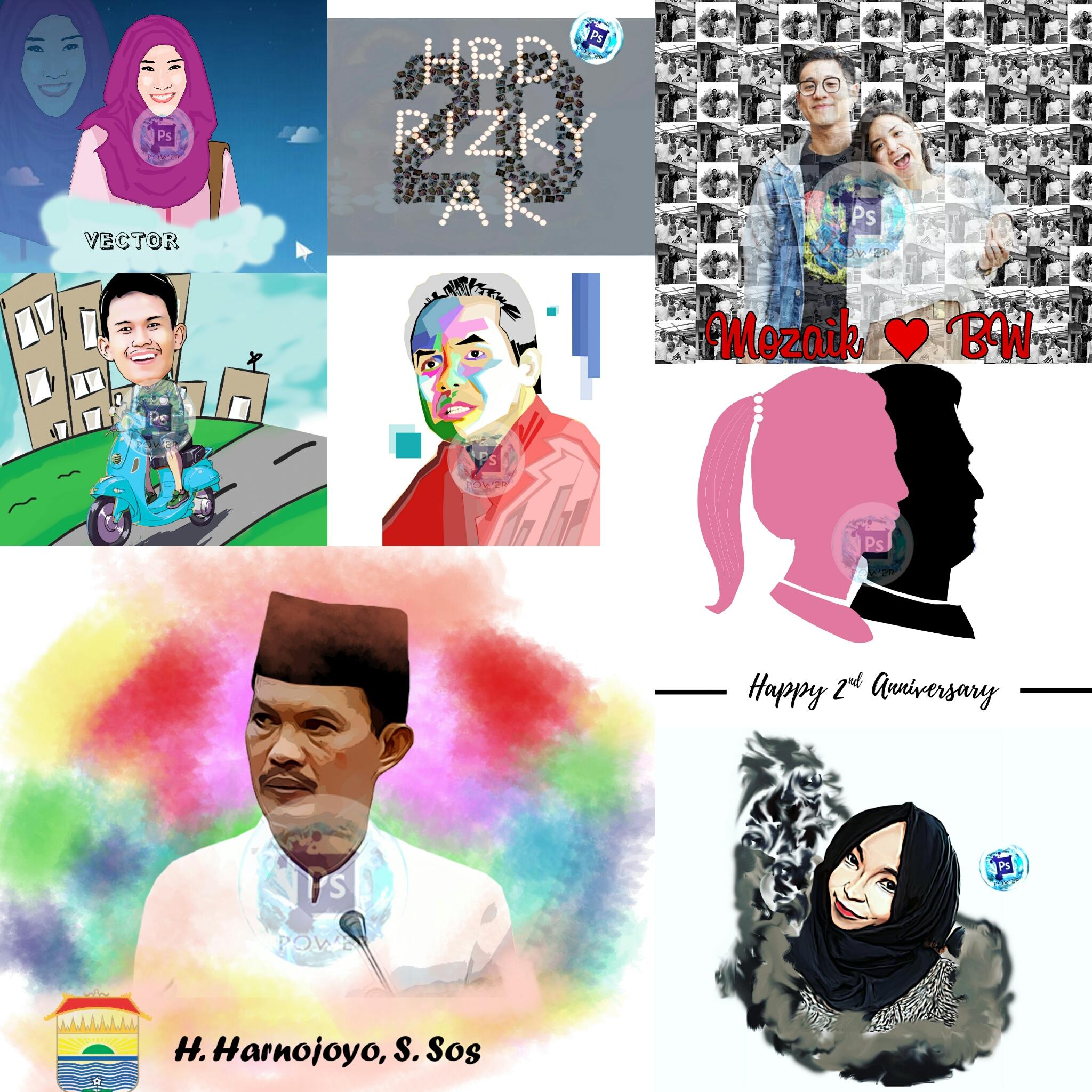 Jual Kado Artwork Karikatur Mozaik Siluet Vector WPAP Palembang