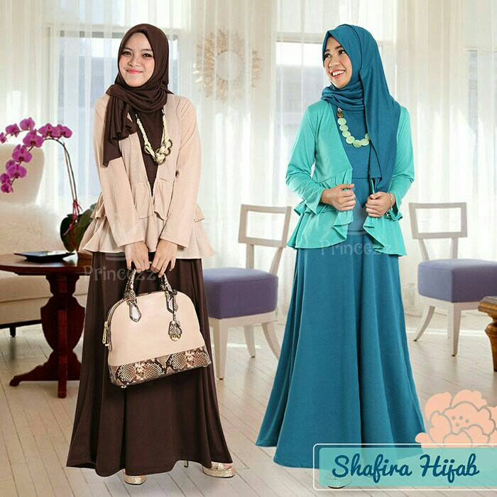 Baju Dress Gamis Set Shafira Hijab gamis + cardigan + hijab