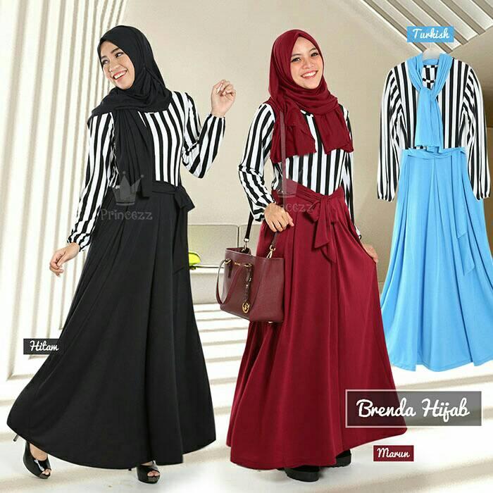 Baju Dress Gamis Set Brenda Hijab gamis + hijab