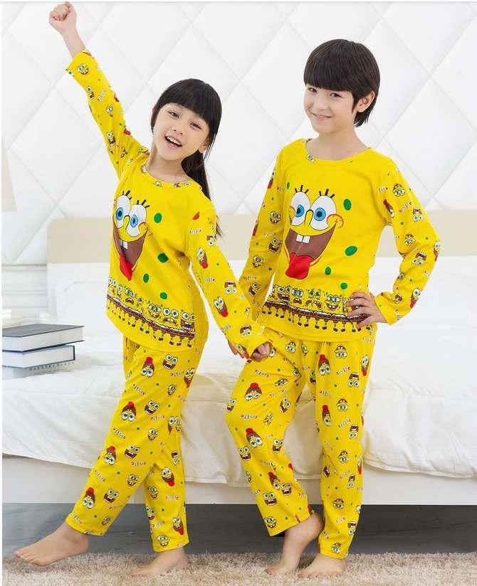 STKD233 - Setelan Piyama Anak Spongebob Smile Expression Murah