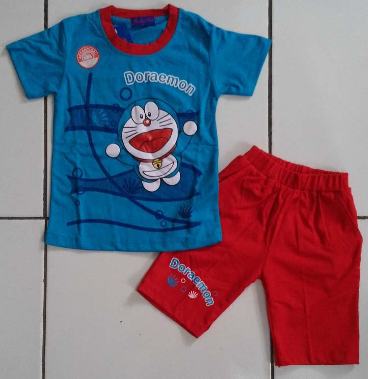 STKDDR33 - Setelan Anak Cln Pendek Doraemon In The Sea