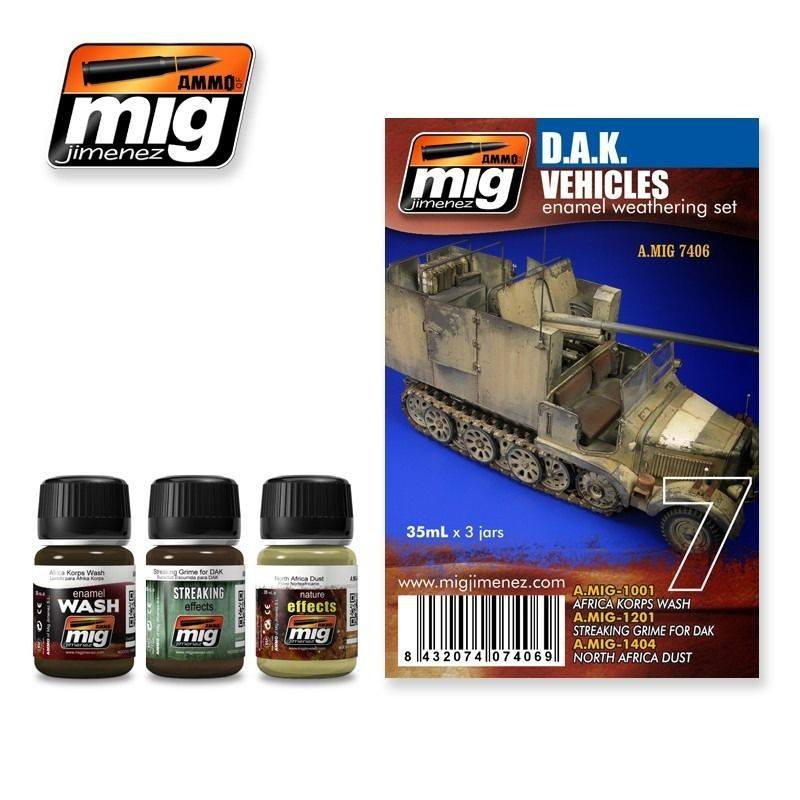 MIG D.A.K Vehicles Enamel Weathering Set