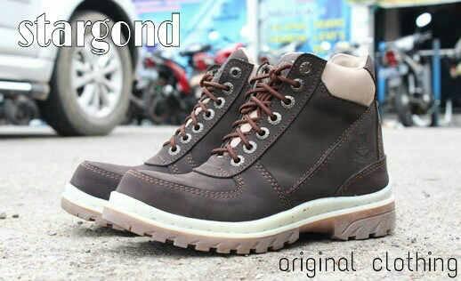 Jual Sepatu Boots Cowok Stargond Mercury Coklat Tua / Safety Kulit Mur